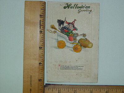 Antique Halloween Postcard Witch Car Black Cat Embossed