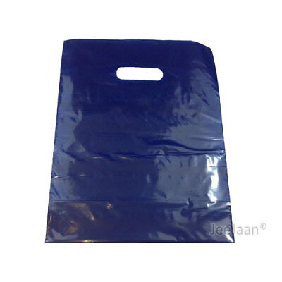 "100 Navy Blue Plastic Carrier Bags 15""x18""+3"" Gift Party Shop Carry Patch Handle"