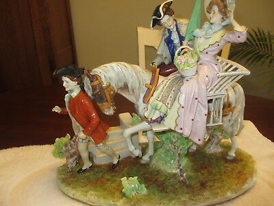 Large Antique Porcelain German Scheibe Alsbach Figurine Horse Courting Man Woman