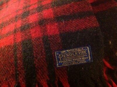 Pendleton Red Black Tartan Plaid Wool Blanket 53x81