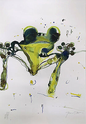 """Large, Signed JOHN OLSEN Limited Edition Giclee """"Leaping Frog"""" - Artist's Proof"""