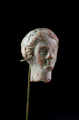 *SC*CHOICE HELLENISTIC GREEK POTTERY HEAD, ca. 3rd.-2nd. century BC!!