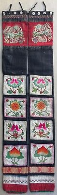 Antique Chinese / Korean Embroidery Panel On Fabric