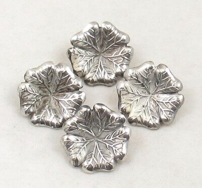 Antique Vintage Metal Picture Buttons Lot ~ 5-Lobed Leaf or Flower ~ 4 Matching