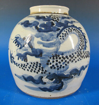 China Trade Export Dragon BlueWhite Ginger Jar Porcelain Cover SE Asia Nonya yqz