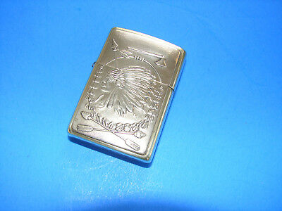 VINTAGE BRASS ZIPPO LIGHTER INDIAN CHIEF WITH HEAD DRESS great Xmas present
