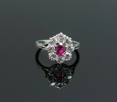 Vintage Platinum Natural Ruby Solitaire Diamond Ring Certified Appraisal $1200