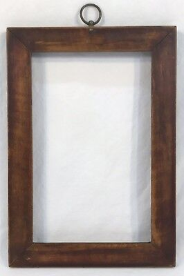 Antique Mid 19th C Tiger Maple Wood Pegged Corners Frame 5 1/8 x 8 Opening