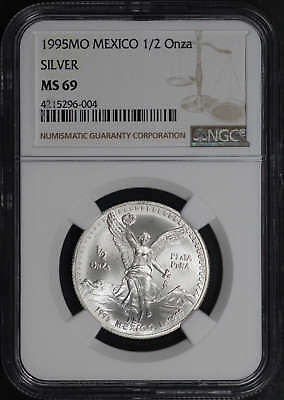 1995-Mo Mexico Silver Libertad 1/2 Onza NGC MS-69 Finest Known Pop 1 -175946