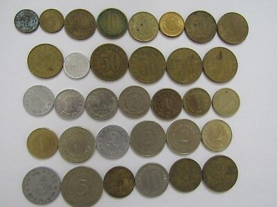 Lot of 33 Different Old Yugoslavia Coins - 1953 to 1990 - Circulated & BU