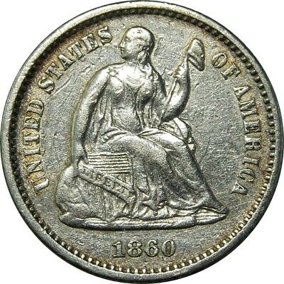 1860 H10c Seated Liberty Silver Half Dime AU+ luster & rainbow toning rare coin