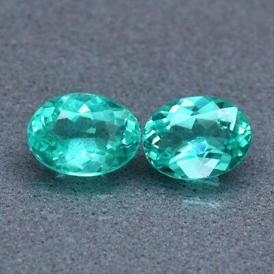 Pair 2pcs/1.64ct t.w Oval Natural Unheated Paraiba-Color Neon Green Apatite