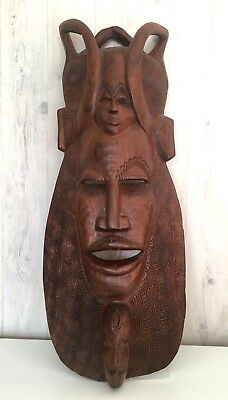 Vintage  2 Feet Hand Carved Solid Wood African Sculpture Mask Wall Decoration