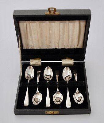 Antique 1919 Sterling Silver Set of Six Teaspoons - Boxed - John Round & Sons
