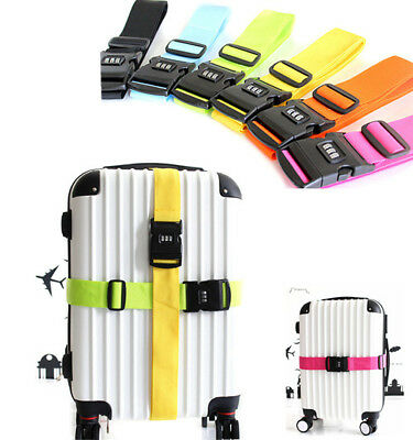 Adjustable Personalise Travel Luggage Strap Belt Suitcase Lock Safe Baggage Tie