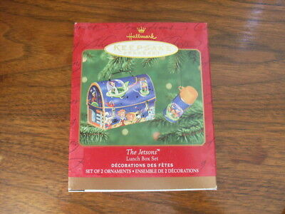 Hallmark The Jetsons Lunch Box Set of Two Xmas Ornaments 2001 George Elroy Astro