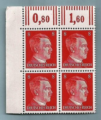 Nazi Germany Third 3rd Reich POST OFFICE 8 pf HITLER HEAD stamp corner block MNH