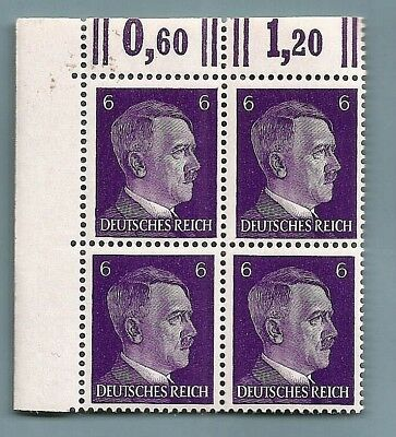 Nazi Germany Third 3rd Reich POST OFFICE 6 pf HITLER HEAD stamp corner block MNH