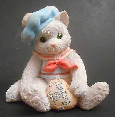 Calico Kittens Thinking of You EUC 624713 Cat in Hat with Heart Pillow