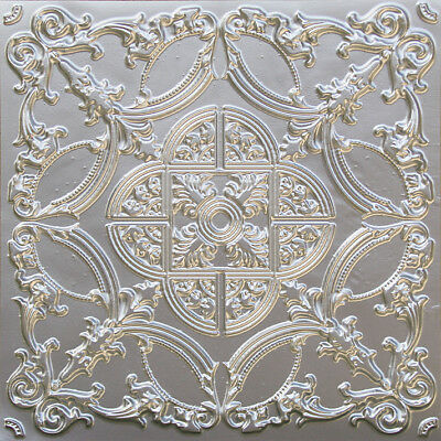 # 218 (Lot of 5) Silver 2'x2' Faux Tin Decorative Ceiling Tile Glue Up/Grid
