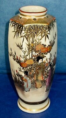 "SATSUMA Japan Antique 6"" Vase Hand Painted Gilded Meiji Period"
