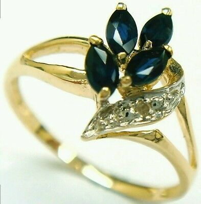 Marquise Natural Sapphire Diamond Ring Size N