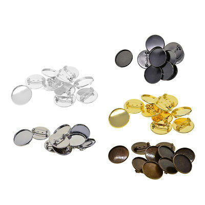 10Pcs 25mm Brooch Making Blank Round Cabochon Bezel Setting Trays for Badge