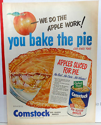 Vintage 1950 magazine ad for Comstock Apple filling - Giant apple pie, colorful