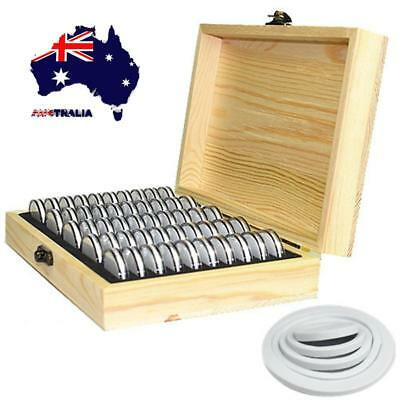 AU Coin Capsules Storage Holder Wooden Box Display Container for 50pc 18/21/25mm