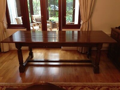Large Antique Style Oak Refectory Dining Table and 8 High Back chairs.