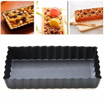Rectangle Fluted Pie Tart Pan Mold Baking Nonstick Removable Bottom Quiche Tools
