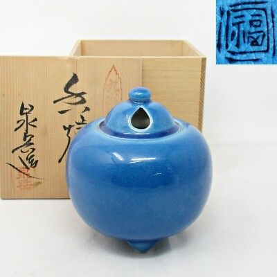A592: Japanese KUTANI porcelain incense burner of beautiful KOCHI glaze w/box