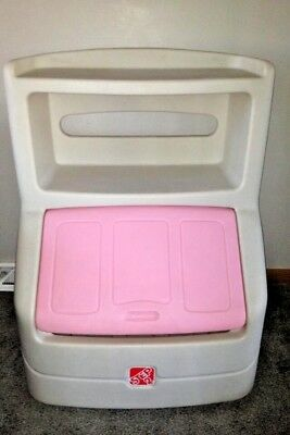 Step 2 Double Bookshelf Toy Box Chest Pink Lid Toybox Pastic Molded