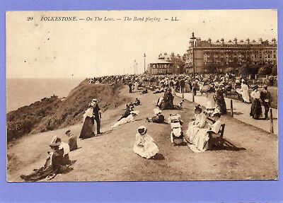 England Kent Folkestone On the Leas-The Band playing 1910 n. Ballenstedt Harz AK