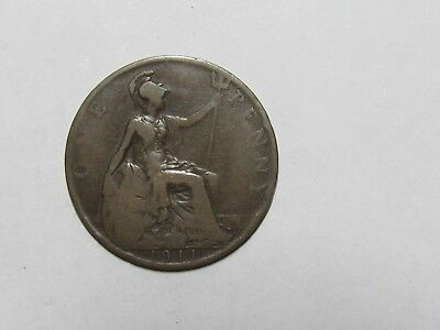 Old Great Britain Coin - 1911 Penny - Circulated