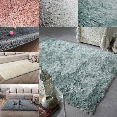 Dazzle Sparkle Sparkly Blush Silky Thick Long Pile Glamour Shaggy Rug Carpet Mat