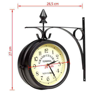 Two sided Train station Wall clock Black Vintage design wall clock High Quality