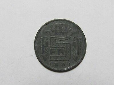 Old Belgium Coin - 1941 French 5 Francs - Circulated