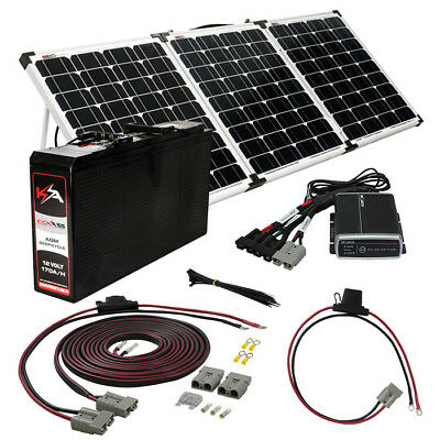 KICKASS 170AH Slim Battery 4WD 150W Portable Solar Panel DCDC Charger 12V Kit