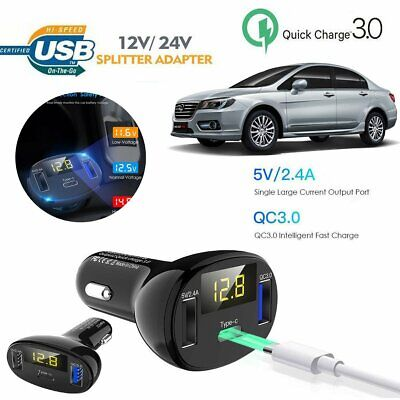 3 Port USB Type C Charging QC3.0 Certified Quick Charge Fast Car Charger 32W