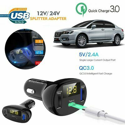 3 Port USB Type C Qualcomm QC3.0 Certified Quick Charge Fast Car Charger 32W