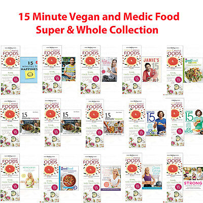 Medic Food Life Super & Whole and 15 Minute Vegan Collection 3 Books NEW Pack