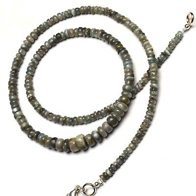 """Natural Gem Chrysoberyl Cats Eye Smooth 3 to 7MM Rondelle Beads Necklace 17"""""""