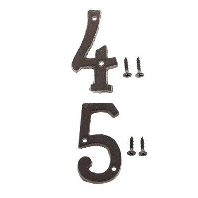 4 &5 Metal Wrought Iron House Address Number Digits for Home Door Sign Plate