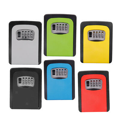 6x Key Storage Lock Box, 4-Digit Combination Lock Box, Wall Mounted Lock Box