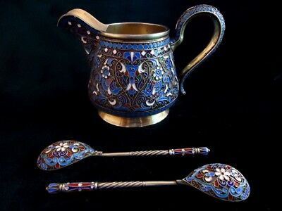 Silver enamel milk jug and two spoons. Rare, amazing antique