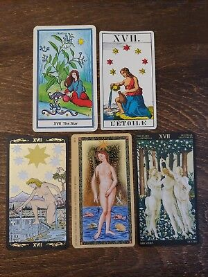 5 Mixed Tarot Cards Lot XVII *The Star* CRAFTS Occult MAGIC *Gold Foil*