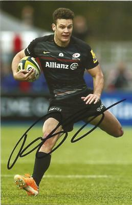 SARACENS RUGBY UNION: DUNCAN TAYLOR SIGNED 6x4 ACTION PHOTO+COA