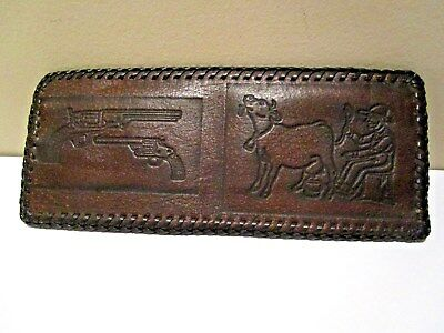 Vintage Hand Tooled Leather MAN MILKING COW HANDGUN Wallet Bifold NWO Tags BROWN