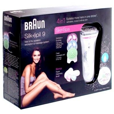 Braun Silk-épil 9 SkinSpa 9-969v Ladies Cordless Wet/Dry Epilator +12 Extras NEW